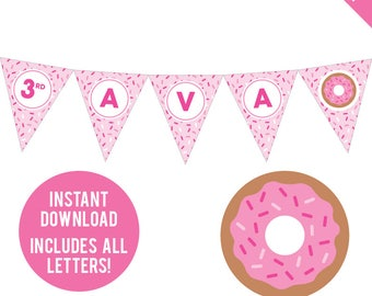 INSTANT DOWNLOAD Pink Donut Party - DIY printable pennant banner - Includes all letters, plus ages 1-18