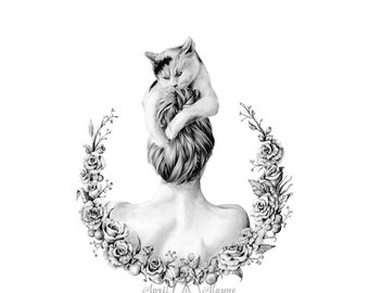 Girl with her Cat- Illustration- Black and white- 8X10 signed print- woman- portrait- fine art - cat