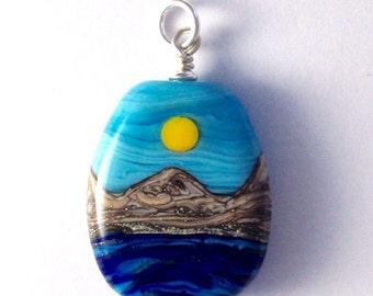 Ocean Handmade Lampwork Glass Bead Pendant - Tabular Shape, Sterling Silver Findings