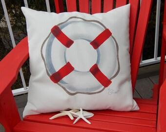 "LIFE PRESERVER painted pillow 20"" life saver nautical life ring indoor outdoor yacht schooner Crabby Chris™ Original"