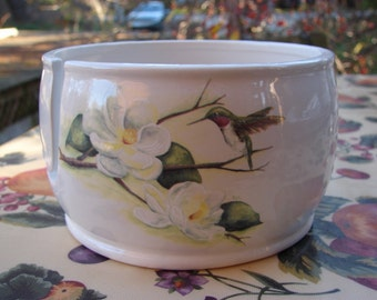 Hummingbirds and Magnolia  Ceramic Yarn Bowl / Yarn Holder