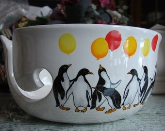 A Penguin Celebration!  Large Ceramic Yarn Bowl / Yarn Holder
