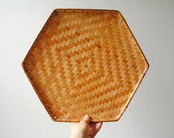 Vintage Bamboo Basket Tray, Hexagon Tray