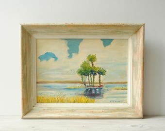 Vintage Seascape Painting, Palm Tree Beach Painting, Framed Wall Art, Signed Art