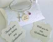 Godmother Bracelet, Godmother Gift, Will You Be My Godmother, Thank You For Godmother, Silver Plated Adustable Bangle