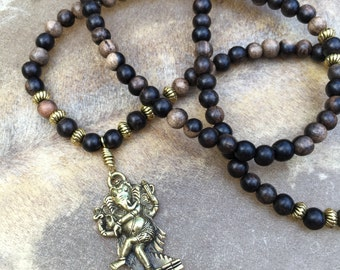 Ganesha Mala Necklace Ganesh Necklace Hindu Jewelry 108 Bead Mala Beads Yoga Jewelry Yoga Inspired Tiger Ebony Brass Ganesh