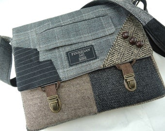 Messenger Bag, iPad Case, Eco Friendly Recycled Suit Coat