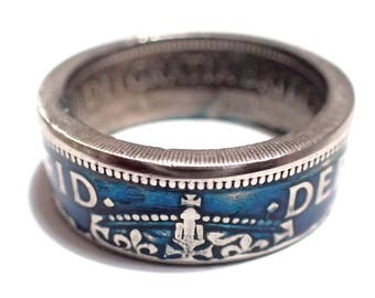 Coin Ring Vintage Brittish half crown w blue enameling pick your size 7-15 Queen Elizabeth the second