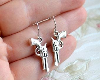 Gun earrings Revolver earrings Pistol earrings Gift for her Silver gun jewelry Western earrings