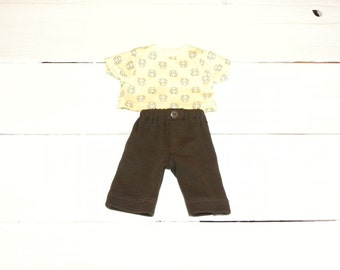 Brown Pants and Yellow Patterned Tshirt - 12 inch boy doll clothes