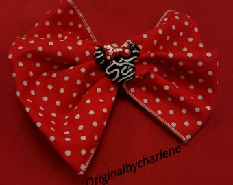Boutique Zebra Minnie on Red and White Dot Hairbow