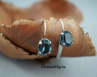SALE 15% off Navy blue earrings, Swarovski oval crystal earrings, Antique silver Short dangle earrings, Montana blue crystal, Simple gift.