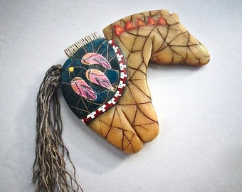 Horse Pendant, Amber Necklace, Native American, Polymer Clay, Primitive Necklace, Horse Fetish, Custom Jewelry, Wearable Art