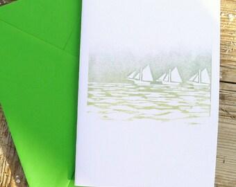 Galway Sailing Boats Lino Print Greeting Card