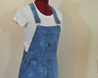 """Blue Jrs Large Bib OVERALL Shorts - Steel Blue Dyed Upcycled Union Bay Cotton Denim Shortalls - Adult Womens Size Juniors Large (32"""" Waist)"""