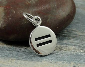 Equality Symbol Charm - Sterling Silver Equality Charm for Necklace or Bracelet
