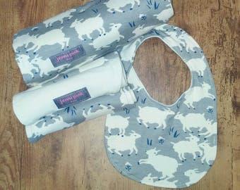 Organic Baby Blanket Gift Set, Gray Sheep Baby Gift, Organic Baby Gift, Baby Blanket Gift Set, Baby Shower Gift Set