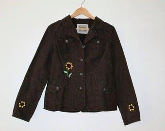 Lightweight Jacket / Brown Blazer  / Brown Denim Blazer / Hand Embroidery / Embroidered Sunflowers / Upcycled Blazer / Brown Jacket