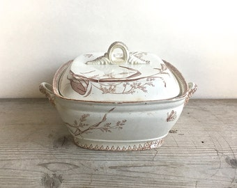 Antique Semi Porcelain Covered Dish Tureen T & R Boote Summertime England Brown Transferware