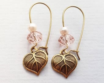 Rose Pink Leaf Earrings, Crystal Earrings, Pearl Earrings, Antique Gold Earrings, Gold Filled Ear Wires, Other Colours Available