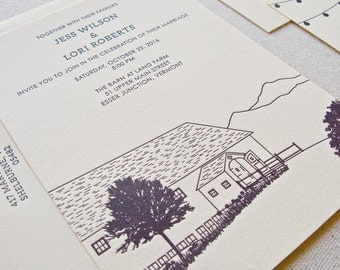 Farm Wedding Invitation, Letterpress printed SAMPLE