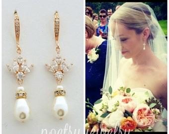 Rose Gold Pearl Drop Wedding Earrings Cubic Zirconia Bridal Earrings Swarovski Pearls Crystal Rose Gold Wedding Jewelry, Bree