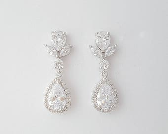 Crystal Bridal Earrings, Wedding Earrings, Crystal Teardrop Earrings, Wedding Jewelry, Pendant Earring Set, Bridal Jewelry, Ela