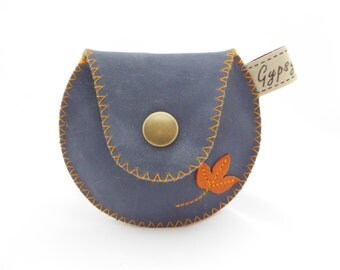 Ready to Ship / Fall Coin Purse-The Mini Gypsy Change Purse in Leather and Vintage Fabric