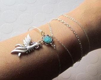 Phoenix Bracelet Firebird Bangle Fantasy Bracelet Necklace Roman Costume Jewelry 2 for 1 Bangle Silver Bird Bracelet Chain Wrap Bangle