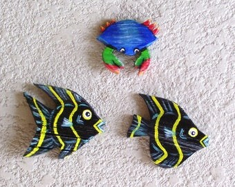 Tropical Fish/Blue Crab Ornaments Carved from Queen Palm Seed Pod Frond