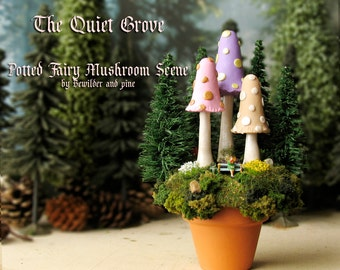 The Quiet Grove - Fairy Mushroom Scene and Potted Landscape - Seated N Scale Figure with Wings - Trio of Mushrooms, Wildflowers, Pine Trees