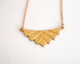 Art Deco Chevron Necklace, Simple Gold Necklace, Gold Minimalist Necklace, Boho Necklace, Brass Fan Necklace, Geometric Gold Necklace