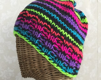 80s rainbow striped beanie hat hand knit