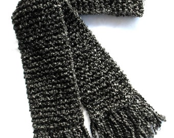 Dark Gray Scarf, Long Chunky Knit Scarf, Charcoal Gray Scarf, Men or Women Winter Scarf, Long Gray Scarf
