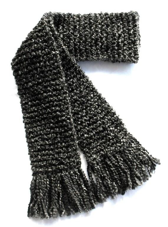 Dark Gray Scarf, Long Chunky Knit Scarf, Charcoal Gray Scarf, Men or Women Winter Scarf, Long Gray Scarf