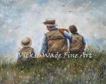 Father Two Sons Art Print, dad and sons painting, two boys, two brothers, talking, fatherhood, father's day gift, gift for dad, Vickie Wade