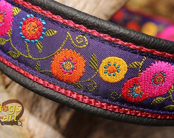 "Dog collar ""Sunshine flower"" by dogs-art, floral dog collar, martingale collar, slip dog collar, leather dog collar, dog collar leather"