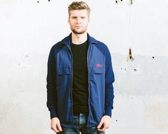 Vintage Odlo TRACK JACKET . 70s Men's Dark Blue Sports Bomber Shell Jacket Thick Polyester Jacket Oldschool Skater . size Medium