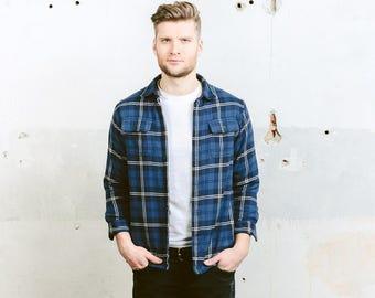 L.L.Bean Plaid Jacket . Vintage 90s Mens Blue Shirt Button Down Lumberjack Shirt Warm Winter Shirt Boyfriend Gift For Men . size Small S