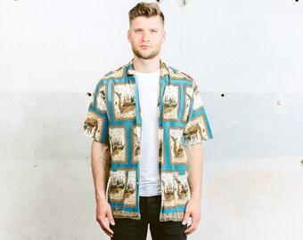 HAWAIIAN Shirt with Loop Collar . Vintage 70s Pattern Shirt Beach Summer Shirt Button Down Shirt Hawaii Short Sleeve Shirt . size Medium