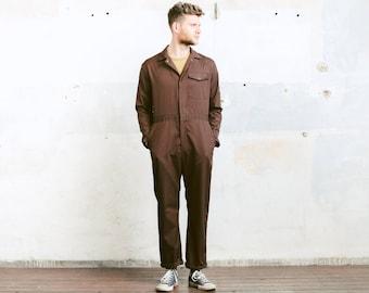 Men's OVERALLS . 80s Brown Garage Car Mechanic COVERALLS Vintage 80s Full Cover Jumpsuit Artist Painter Suit Outerwear . size Medium M