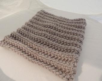 Knitted Cowl Handmade Dallas Grey Wool Blend