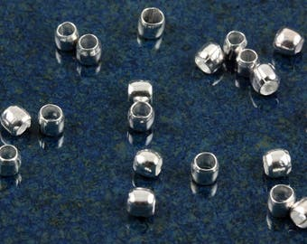 Silver plated 2.5mm heavy duty crimp beads (100)