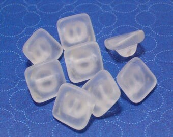 Frosted Clear White Sea Glass Style Vintage Glass Buttons 10mm Set 8