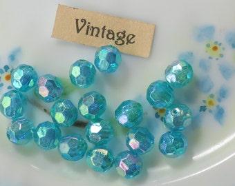 Vintage AB Beads Faceted 6mm Acrylic Aqua Shabby cottage Aurora Borealis Shabby chic Cottage Pastel. #1675