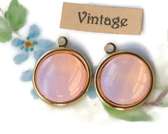 Vintage Charms, Pink glass Opal Sabrina Mirrored Round Drops Dangles Connectors Gold Toned Shabby chic Cottage Pink. #1336C