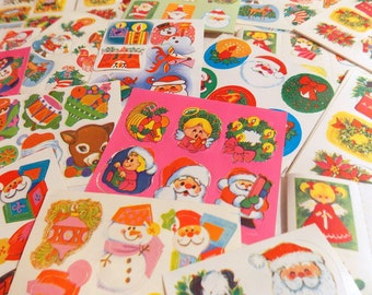 Vintage Christmas Gummed Seal Stickers  / 10 Sheets / Daily Planner