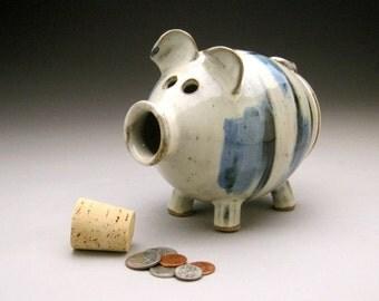 Handmade Piggy Bank White, Blue, Black