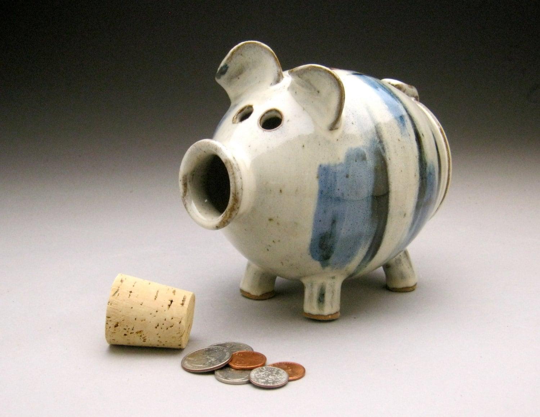 Handmade piggy bank white blue black for Handmade coin bank