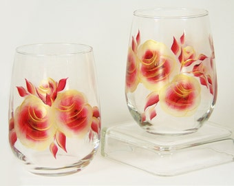 Hand-Painted Stemless Wine Glasses - Red and Gold Roses Set of 2 - READY TO SHIP Free Shipping
